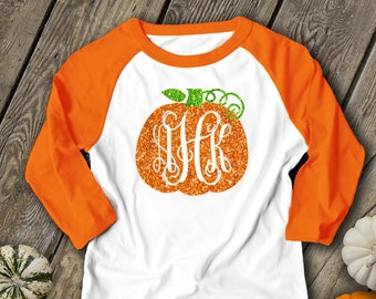 2b783454 Pumpkin monogram glitter sparkly monogrammed pumpkin personalized teacher  fall halloween shirt monogram unisex raglan shirt SNLF-050-ROL