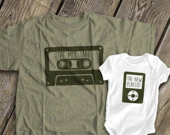 66b52876fb0 funny dad and baby matching shirts | father's day shirt set | mix tape and  playlist shirts | dad, mom kiddo shirt set cassette MDF1-108