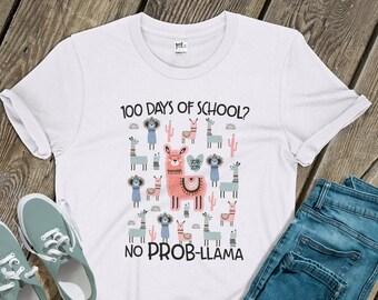d566a13d5 Teacher shirt | 100 days no prob-llama | llama 100 day team teacher shirt |  custom team teachers tshirt | MSCL-145