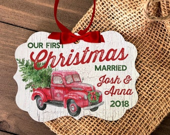 c2ebc71db0b2 Our First Christmas Married couples vintage truck ornament - adorable metal  or wood christmas tree farm personalized ornament MBO-015