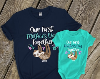 6dd5c64af First Mothers Day shirt set | mommy baby first Mothers Day | sloth DARK  shirt set | sweet first mothers day gift shirts MMGA1-091d