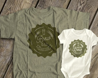 73a12c6c0 Father's Day together matching dad and baby brew micro brew - beer shirts  set - great Father's Day matching shirts MDF1-117