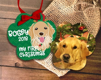 Personalized dog breed - pet's first christmas photo ornament - custom boy or girl dog - new family member MPWO-002