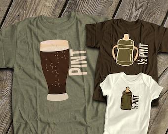 f4aec72e pint half quarter pint matching dark t-shirts | dad kiddos matching three shirts  father's day set | father's day shirt gift mdf1-011v