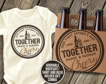 10e88b3f8 First Father's Day together CHEERS best buds beer and 6-pack bottle holder    adorable 1st Father's Day gift set  cheers shirt mdf1-105B