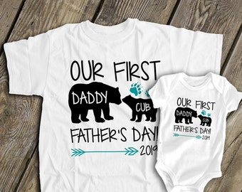 f394a33d First Fathers Day daddy baby bear daddy baby matching t-shirts 1st fathers  day gift set papa bear baby bear -gift for Fathers Day MDF1-098N