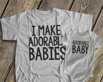 889aa5022 I make adorable babies® shirts dad and baby matching t-shirt and bodysuit  gift set ORIGINAL- great gift for Father's Day MDF1-011