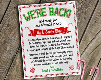 personalized elf letter welcome back letter from two elves christmas elf letter to kids from elf downloadable elf letter elf letters