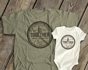 8b364fdb First Father's Day together cheers matching daddy and baby bodysuit gift  set - great Father's Day shirts matching cheers shirts MDF1-105