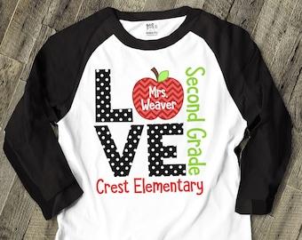 Teacher shirt - love school personalized raglan shirt for teachers MSCL-025R