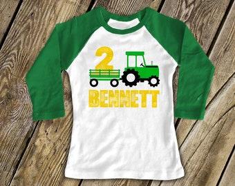 Tractor birthday shirt second birthday tractor shirt green yellow tractor themed birthday personalized birthday shirt - plow tractor MBD-008
