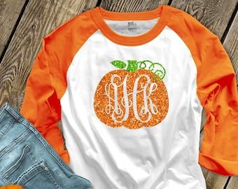 Pumpkin monogram glitter sparkly monogrammed pumpkin personalized teacher fall halloween shirt monogram unisex raglan shirt SNLF-050-ROL