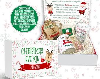 christmas eve kit   hot chocolate and treat christmas eve box kit with all the goodies   goodbye elf christmas eve box hello santa reindeer