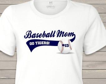 Baseball mom shirt - custom with name and team name personalized mom baseball t-shirt MMGA1-070