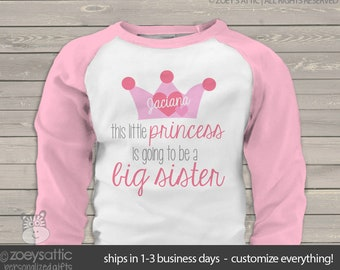 Big sister shirts -princess big sister to be t-shirt crown big sister to be pregnancy announcement big sister shirt MGRL-007-r