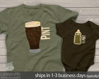 matching father son shirts - pint and half pint or choose a bodysuit gift set - great holiday or Father's Day shirts gifts MDF1-010v