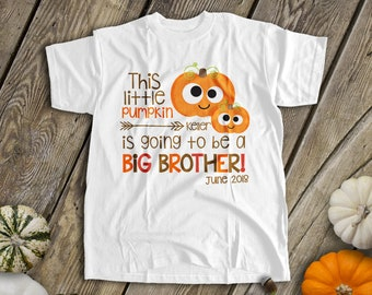 970b2e091fd Fall big brother to be shirt - googly eye pumpkin pregnancy announcement  tshirt SNLF-014