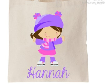 and Ear Muffs Ice Skate Winter Themed Tote Bag Pink Hat