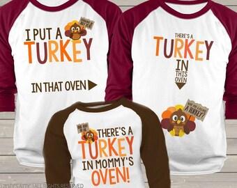 03c0523d9 Daddy/mommy/kiddo Thanksgiving shirt set - turkey in oven pregnancy  announcement THREE raglan shirt set SNLF-017-019