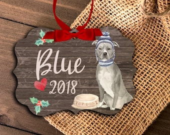 Blue Pittie pit bull dog ornament | personalized pit bull ornament | pet dog ornament | blue pittie bull dog Christmas Ornament  MBO-044