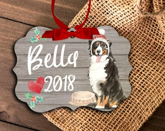 Bernese Mountain Dog ornament | personalized bernese mountain dog ornament | pet dog ornament |  mountain dog holiday ornament  MBO-047
