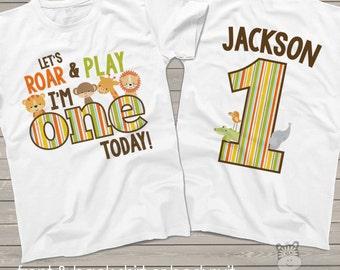 Zoo Jungle Theme First 1st Birthday Shirt