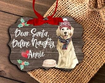 Golden Retriever dog ornament | funny golden lover ornament | dear santa define naughty | golden retriever Christmas ornament  MBO-048