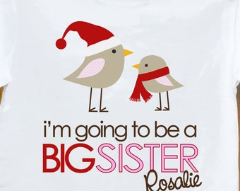 4cdc34ecad Big sister I'm going to be a big sister birdies winter t-shirt - adorable  way to announce your pregnancy