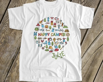 0849dbe9af68 happy camper - kids camping shirt - fun vacation tshirt summer camp MCMP-002