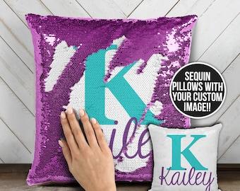 Personalized monogram sequin pillow   reversible sequin mermaid pillowcase   custom initial and name decorative sequin pillow  pil-051sq