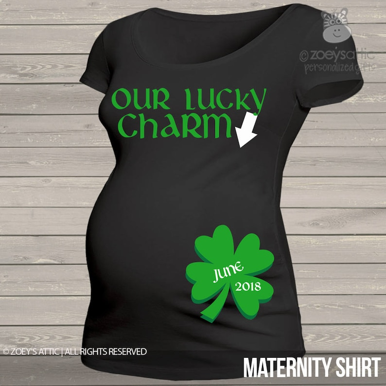 760e5a4a1e38a St. Patrick's Day maternity shirt our lucky charm custom | Etsy