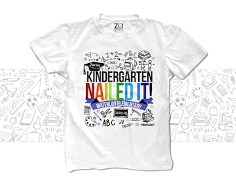 Kindergarten graduation shirt - graduation colorful rainbow any grade nailed it kindergarten nailed it personalized graduation mscl-004