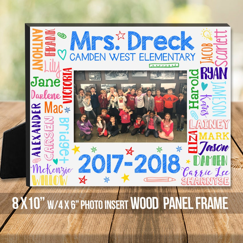 Teachers gift teacher student names personalized class photo   Etsy