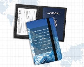 Vaccine and passport holder   document holder henry david thoreau quote   proof of vaccination passport identification holder pph-003