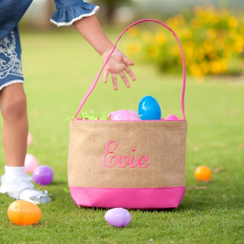 burlap monogrammed easter basket girls easter basket embroidered easter basket personalized PINK BOTTOM easter basket