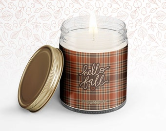 sweet spicy autumn fall candle gift candle gifts for self or friends or co-workers hello fall autumn soy blend wax candle soothing candle