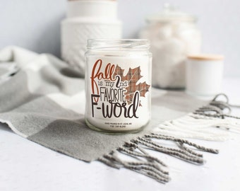 funny fall candle gift candle gifts for self friends co-workers fall is my 2nd favorite f-word soy blend wax candle autumn novelty candle