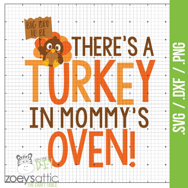 bb82ef67a10de There's a turkey in my mommys oven .svg .dxf .png digital | Etsy