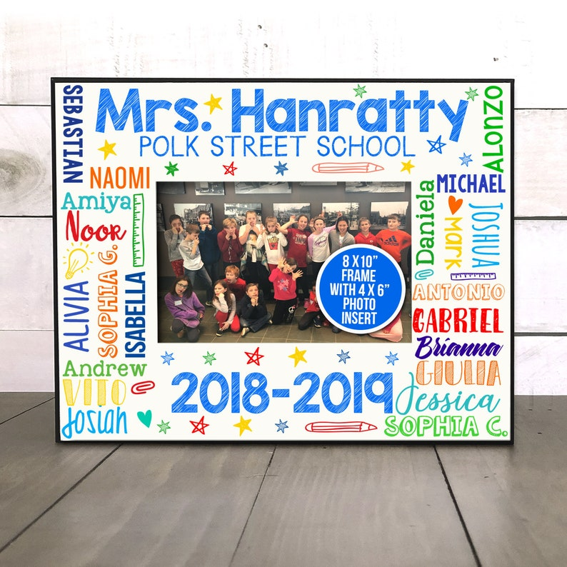 Teachers gift - teacher student names personalized class photo frame  teacher frame from students personalized teacher frame from kids