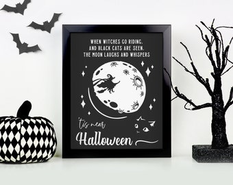 Halloween custom print   when witches go riding 'tis near Halloween canvas home decor   black or white frame option canvas hardboard print