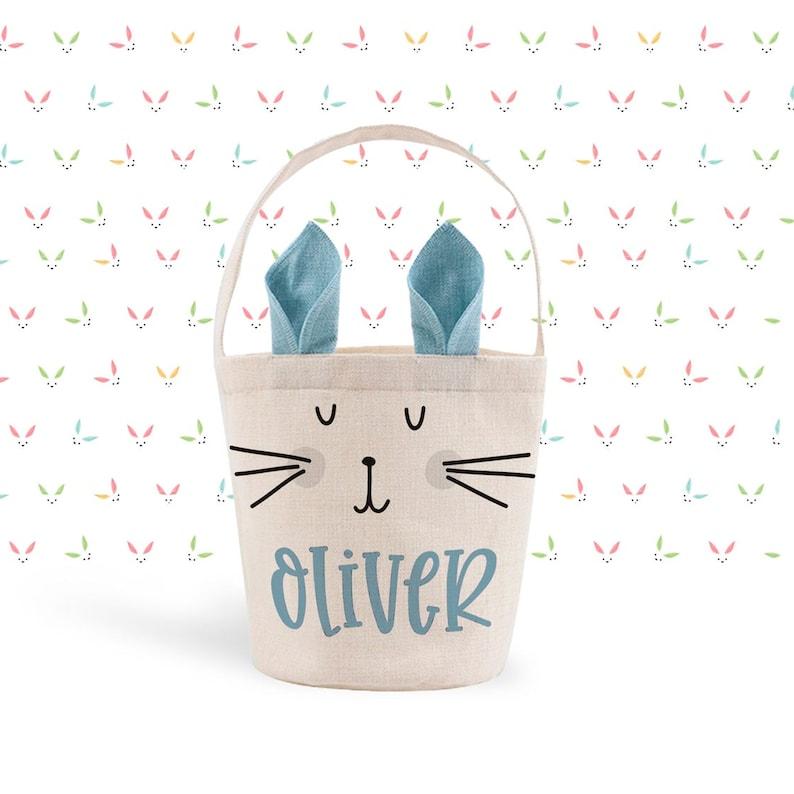 boy's easter basket  bunny ears easter basket blue linen image 0