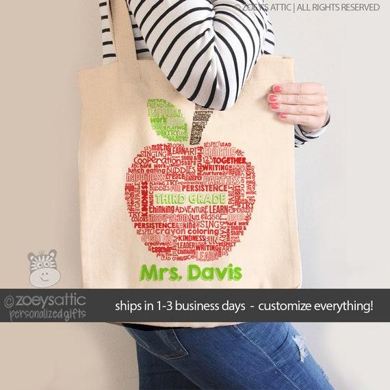 127988219a professeur sac fourre-tout apple mot collage nom grade | Etsy