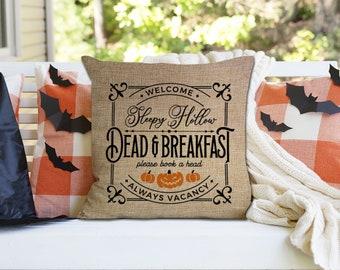 Halloween throw pillow   sleepy hollow dead & breakfast halloween home decor throw pillowcase pillow   funny book a head pillow pil-215-thw