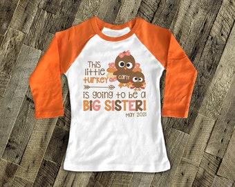 Thanksgiving Big Sister Shirt, Thanksgiving Pregnancy Announcement Shirt, Turkey Big Sister Shirt  SNLF2020-042GR