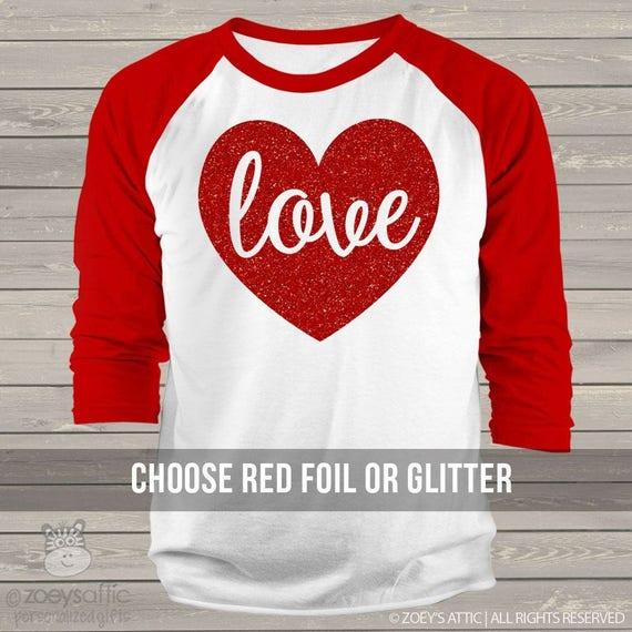 Valentine Shirt Love Sparkly Red Heart Adult Raglan Shirt Etsy