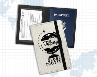 Passport and vaccine card holder   globe trotter personalized document holder   proof of vaccination passport identification holder pph-004