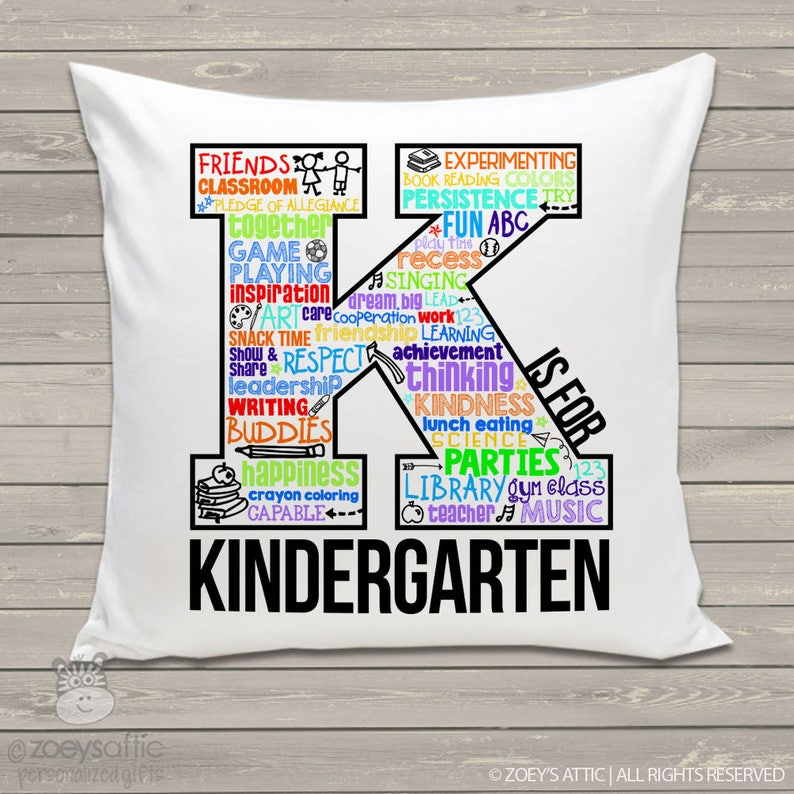 Teacher gift - K is for KINDERGARTEN or any grade custom throw pillow with  removable pillowcase PIL-120-THW