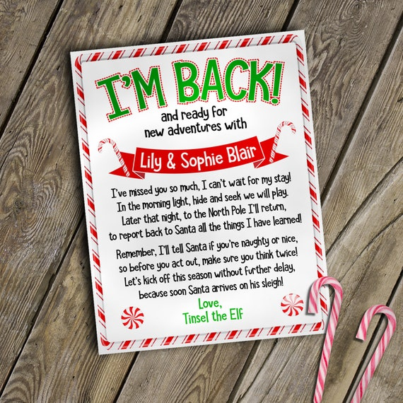 Personalized Elf Letter Welcome Back Letter From Elf