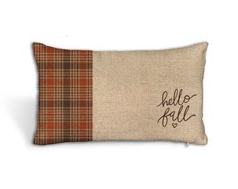 hello fall throw pillow   faux burlap lumbar throw pillowcase   plaid autumn colors pillowcase with insert option pil-214-lbr