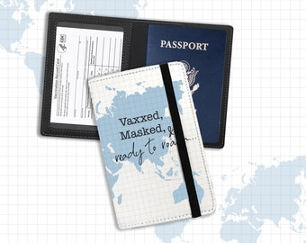 Vaccine and passport holder   vaxxed masked & ready to roam document holder   proof of vaccination passport identification holder pph-001
